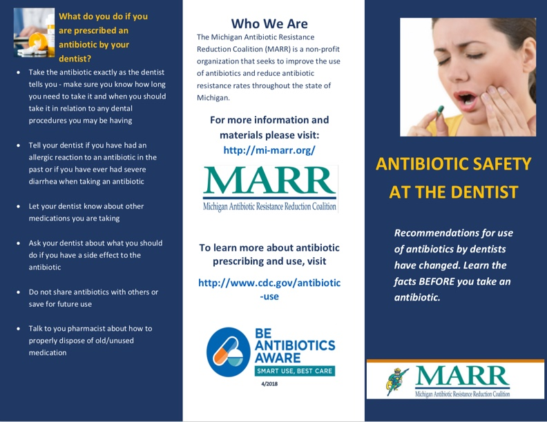 Antibiotic Safety at the Dentist Brochure front